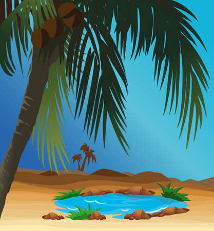 oasis at the desert with palm Illustration
