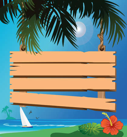 signboard on the beach Illustration
