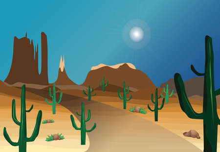 western desert scenes Illustration