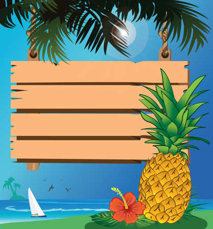 pineapple and signboard at the beach