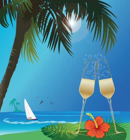 champagne at tropical beach Illustration