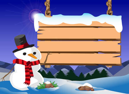 xmas scene snowman and signboard Illustration