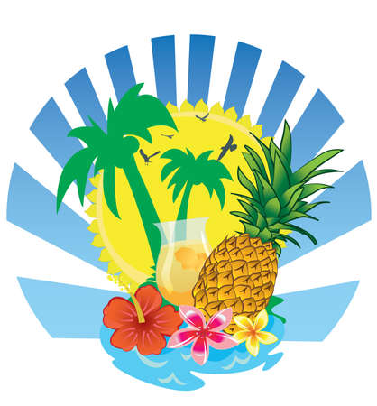 Fruits, Sailboat and an island on summer.