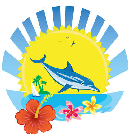 Blue dolphin with island and flowers.