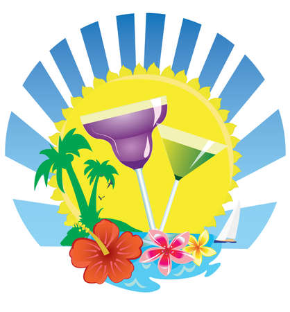 tropical scene with palm and boat drinks Illustration