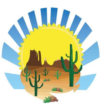 western desert scenes Illustration