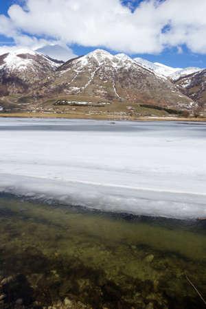 frozen lake: view of frozen mountain lake Stock Photo