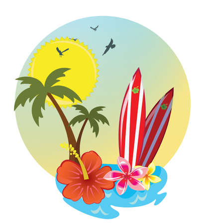 natures: surf and signboard Illustration