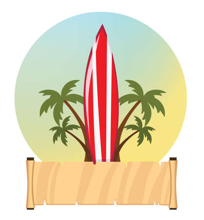 surf and signboard Illustration