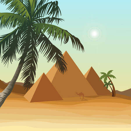 pyramid of the sun: A desert with pyramid. Illustration