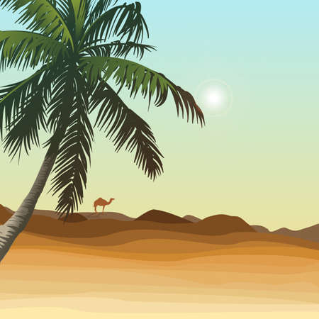 Desert and palm with golden sand