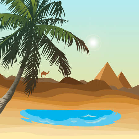 Desert with oasis and pyramid