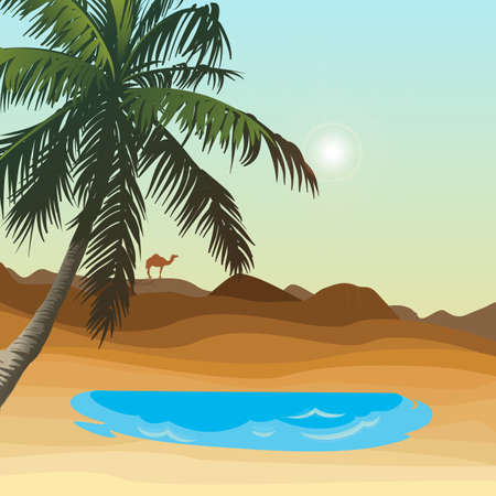 Oasis in the desert and palm