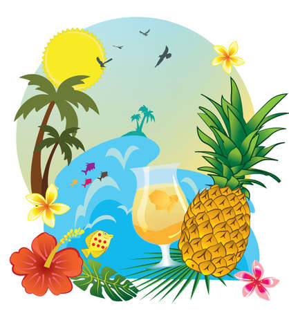 Summer and drink pineapple