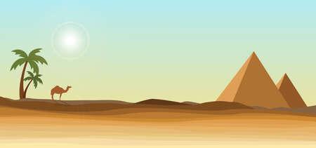 피라미드와 야자수가있는 사막