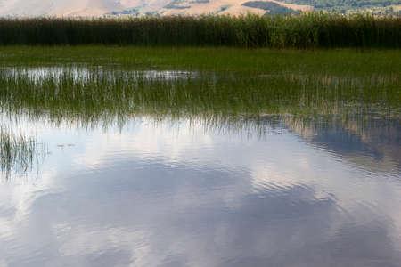 mountain reflection in matese lake Stock Photo