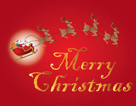 Merry Christmas with Santa Claus and red pattern illustration.