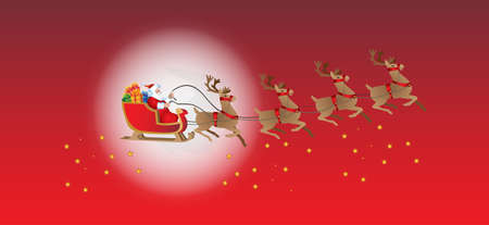 Santa Claus on sled in Christmas holidays card design.