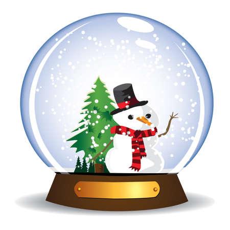 Snowman in glass snow globe icon.