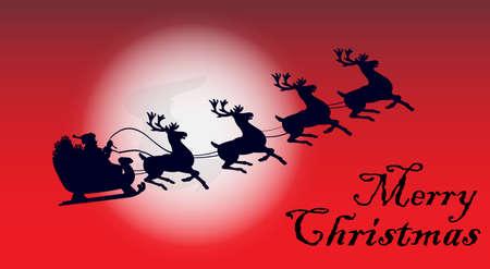 Santa Claus on sled on Christmas holidays Illustration