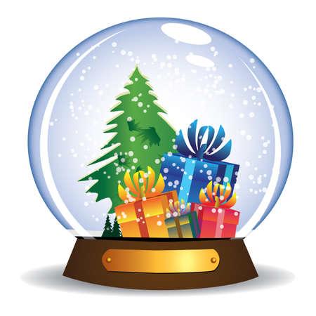 Presents in snow glass globe