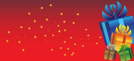 presents stars and red background