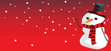 snowman snow and red background