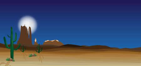 wild desert scene with cactus Vector illustration.