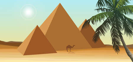 Desert with pyramid and palm Vector illustration.  イラスト・ベクター素材