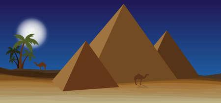 Desert with pyramid and palm Vector illustration. Иллюстрация