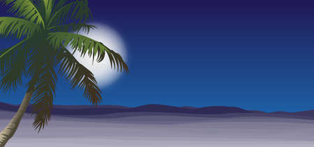 Desert with palm and moon. Illustration