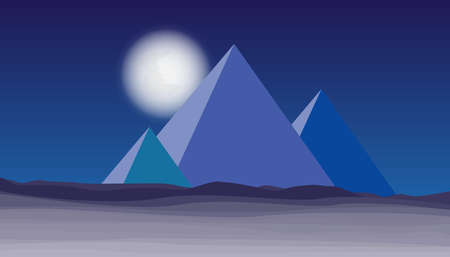 Desert with pyramid and moon