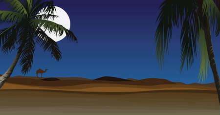 Desert with palm at night. Ilustrace