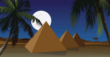 Desert with pyramid and palm.