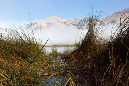mountain lake matese and fog