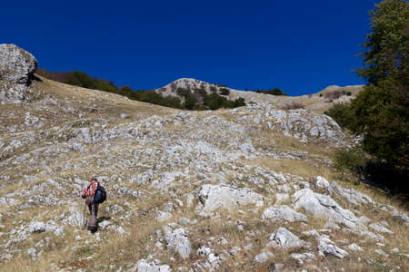 hiker on mountain trail matese gallinola miletto Stock Photo