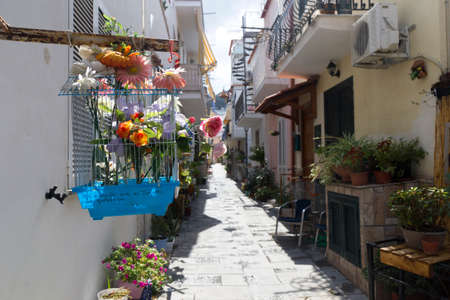 ischia casamicciola italy street flowers chair Stock Photo