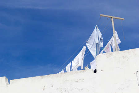 cloth to dry on terrace of white house ischia forio