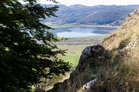 matese lake seen from the mountain monte gallinola miletto Stock Photo