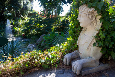 sphinx in la mortella garden ischia Stock Photo