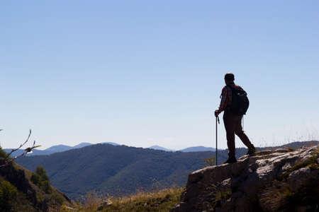 hiker on mountain peak on matese park Stock Photo