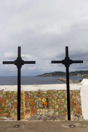 crosses detail outside soccorso church ischia forio