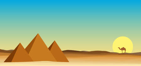 egypt landscape desert with pyramid Иллюстрация