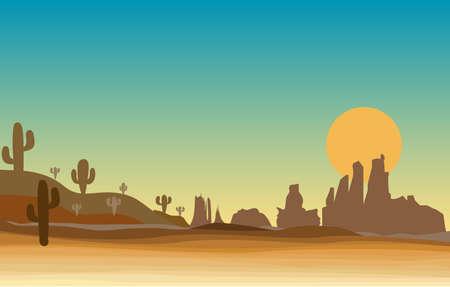 escena occidental en el desierto con cactus