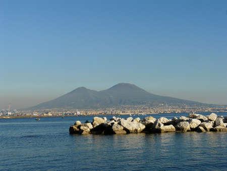 view of vesuvius volcano in naples italy Stock Photo