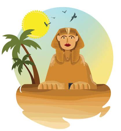 old egyptian sphinx monument illustration