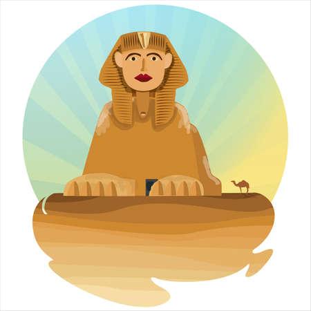 old egyptian sphinx monument illustration 向量圖像