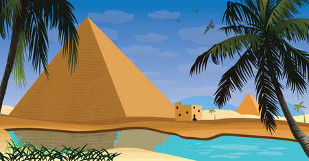 egypt scene with pyramid palm and lake