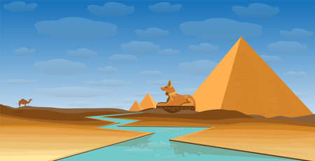egypt desert with pyramid Anubis and Nile