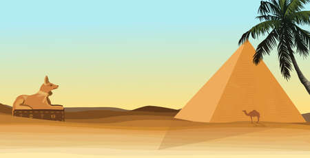 egypt desert with pyramid Anubis